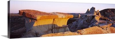Rock formations on a landscape, Badlands, Theodore Roosevelt National Park, North Dakota