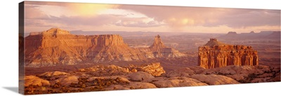 Rock formations on a landscape, Canyonlands National Park, Utah