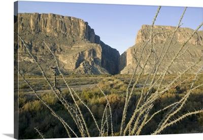 Rock formations on a landscape, Santa Elena Canyon, Big Bend National Park, Texas