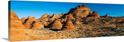Rock formations on an arid landscape, Coyote Buttes, Paria Canyon, Vermilion Cliffs Wilderness, Arizona