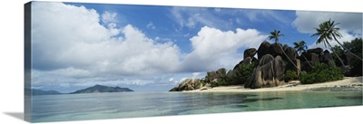 Rock formations on the beach, Anse Source Dargent Beach, La Digue Island, Seychelles