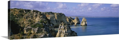 Rock formations on the beach, Lagos, Algarve, Portugal