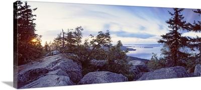 Rocks and trees at the lakeside, Lake Pielinen, Koli National Park, Lieksa, Finland