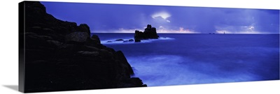 Rocks in the sea, Armed Knight, Land's End, Cornwall, England