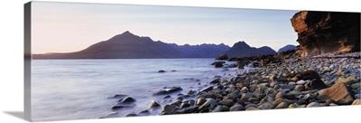 Rocks on the beach, Elgol Beach, Elgol, view of Cuillins Hills, Isle Of Skye, Scotland
