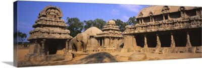 Ruins of a temple, Pancha Rathas, Bhima Ratha, Mahabalipuram, Tamil Nadu, India
