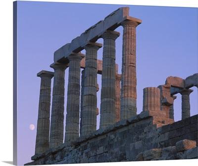 Ruins of a temple, Temple of Poseidon, Anavyssos, Sounion, Attica, Greece