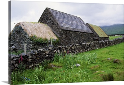 Rustic stone farmhouse, rural Ireland.