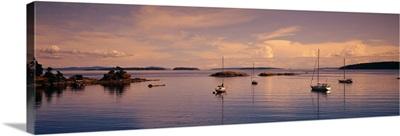 Sailboats in the sea, Portland Island, Gulf Islands, Canada