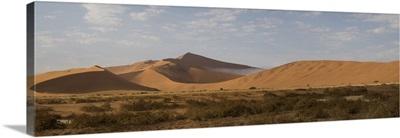 Sand dunes in a desert, Sossusvlei, Namib-Naukluft National Park, Hardap, Namibia