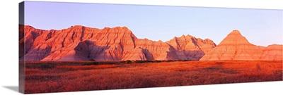 Sandstone rocks on a landscape, Wildlife Loop Road, Saddle Pass Trail, Badlands National Park, South Dakota,