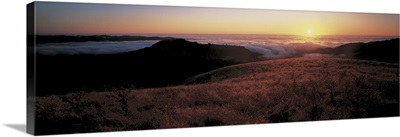 Santa Cruz Mountains at sunset CA