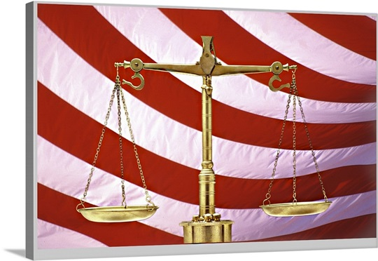 Scales Of Justice American Flag Canvas