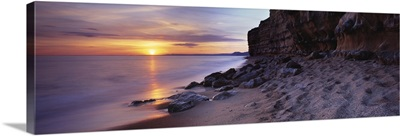 Sculpted cliffs on the coast Burton Bradstock Dorset England