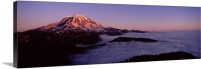 Sea of clouds with mountains in the background, Mt Rainier, Pierce County, Washington State,