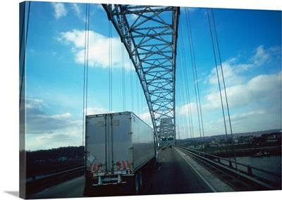 Semi-truck on a road, Interstate 64, Ohio River, Louisville, Kentucky