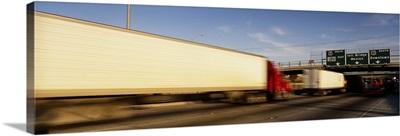 Semi-trucks on a highway, Laredo, Texas
