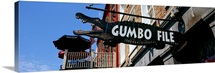 Signboard outside of a restaurant, Gumbo File restaurant, French Market, French Quarter, New Orleans, Louisiana,