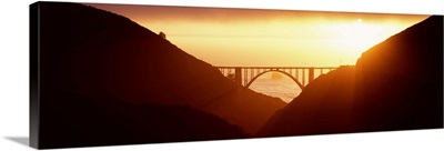 Silhouette of a bridge at sunset, Bixby Bridge, Big Sur, California,