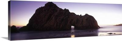 Silhouette of a cliff on the beach, Pfeiffer Beach, Big Sur, California,