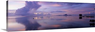 Silhouette of a hut in the sea, Bora Bora, French Polynesia
