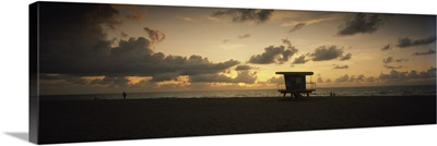 Silhouette of a lifeguard hut on the beach South Beach Miami Beach Miami Dade County Florida