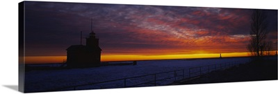 Silhouette of a light house at sunset, Big Red Lighthouse, Holland, Michigan