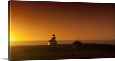 Silhouette of a lighthouse at sunset, Point Cabrillo Light, Fort Bragg, Mendocino County, California