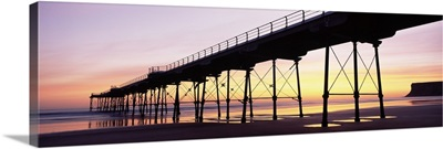 Silhouette of a pier at dusk Saltburn Pier Saltburn By The Sea Redcar And Cleveland North Yorkshire England