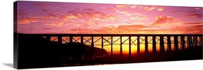 Silhouette of a railway bridge, Fort Bragg, California
