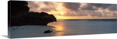 Silhouette of a rock on the beach, Watamu, Coast Province, Kenya