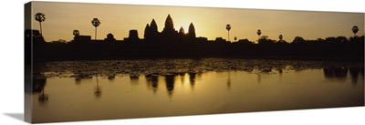 Silhouette of a temple at sunrise, Angkor Wat, Cambodia