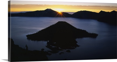 Silhouette of an island in a lake, Wizard Island, Crater Lake, Crater Lake National Park, Oregon
