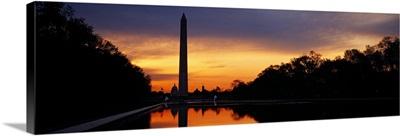 Silhouette of an obelisk at dusk, Washington Monument, Washington DC