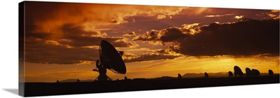 Silhouette of Array Radio Telescopes, National Radio Astronomy Observatory, New Mexico