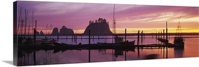 Silhouette of boats at the dock, Olympic Peninsula, northwest Washington State