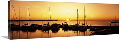Silhouette of boats in the sea, Egg Harbor, Door County, Wisconsin