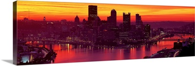 Silhouette of buildings at dawn, Three Rivers Stadium, Pittsburgh, Allegheny County, Pennsylvania
