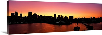 Silhouette of buildings at dusk, Montreal, Quebec, Canada 2010