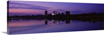 Silhouette of buildings at the waterfront Arkansas River Tulsa Oklahoma