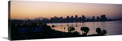 Silhouette of buildings at the waterfront, San Diego, San Diego Bay, San Diego County, California
