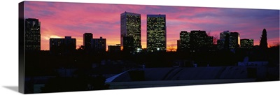 Silhouette of buildings in a city, Century City, City of Los Angeles, California