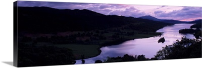 Silhouette of cliffs at sunset, Loch Tummel, Pitlochry, Perth And Kinross, Scotland