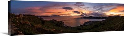 Silhouette of islands in a lake, Isla Del Sol, Lake Titicaca, Bolivia