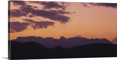 Silhouette of mountain ranges, Chisos Mountains, Big Bend National Park, Texas
