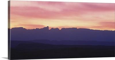 Silhouette of mountains at dawn, Sierra Del Carmen Mountains, Big Bend National Park, Texas