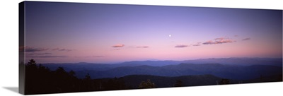 Silhouette of mountains at dusk, Great Smoky Mountains National Park, North Carolina