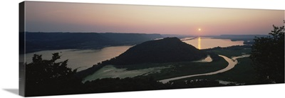 Silhouette of mountains at dusk, Trempealeau Mountain, Mississippi River, Minnesota
