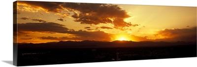 Silhouette of mountains at sunrise, Denver, Colorado,