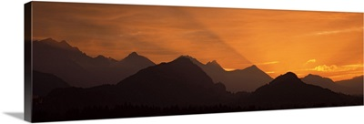 Silhouette of mountains at sunset, European Alps, Bavaria, Germany
